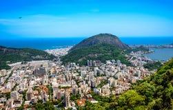 Widok na Rodrigo De Freitas Laguna i Zonie Sul, Rio De Janeiro, zdjęcia royalty free