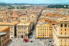 Widok na Roma ulicach od Vittoriano pałac Zdjęcie Stock