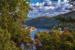 Widok na rzecznym Vltava przez drzew Zdjęcia Stock