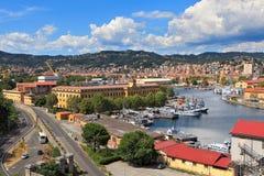 Schronienie i miasto los angeles Spezia, Włochy. zdjęcia royalty free