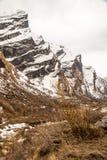 Widok na sposobie Annapurna Podstawowy Obozowy teren Obrazy Stock