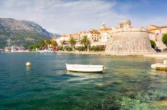 Widok na starym grodzkim Korcula na wyspie w Dalmatia, Chorwacja obrazy royalty free