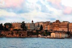 Widok na starym miasteczku od ionian morza Wschód słońca nad starym miastem Zdjęcia Royalty Free