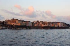Widok na starym miasteczku od ionian morza Wschód słońca nad starym miastem Fotografia Stock
