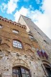 Widok na urząd miasta w San Gimignano, Włochy zdjęcie royalty free