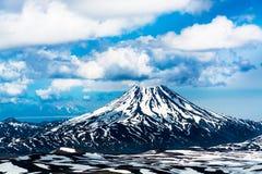 Widok na Viluchinskiy wulkanie, Kamchatka, Rosja Zdjęcie Stock