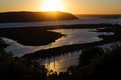 Widok na Volga rzece i Zhiguli górach od śmigłowcowego viewpo Zdjęcie Royalty Free