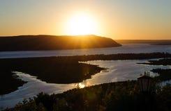 Widok na Volga rzece i Zhiguli górach od śmigłowcowego viewpo Obraz Royalty Free