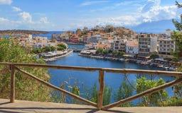 Widok nad Agios Nikolaos od punktu widzenia, Crete Zdjęcie Royalty Free
