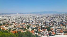 Widok nad Athen w wakacje letni w Greece fotografia stock
