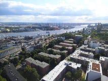 Widok nad dachami miasto Hamburg obraz royalty free