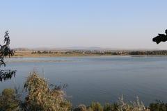 Widok nad Danube rzeką w Galati, Rumunia Zdjęcie Royalty Free