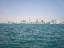 Widok nad Doha od Perskiej zatoki Zdjęcia Stock