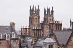 Widok nad Edynburg w chmurnej pogodzie, Szkocja fotografia stock