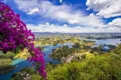 Widok nad Guatepe rezerwuarem, Antioquia, Kolumbia Zdjęcie Stock