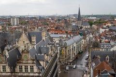 Widok nad historycznym centre Ghent Fotografia Stock