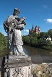 Widok nad Lahn rzek? Limburg Katedralny Limburg Hesse Niemcy obraz royalty free
