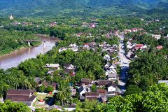 Widok nad Luang Prabang w Laos Zdjęcie Stock