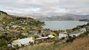Widok nad Lyttelton, Nowa Zelandia zdjęcie stock