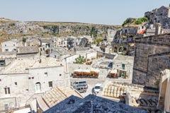 Widok nad Matera, unesco miejsce w Basilicata Włochy Zdjęcia Royalty Free
