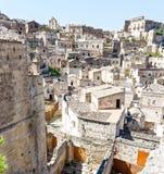 Widok nad Matera, unesco miejsce w Basilicata Włochy Obrazy Royalty Free
