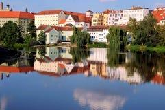 Widok nad miasteczkiem Pisek, Południowa cyganeria, republika czech obrazy royalty free