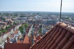 Widok nad miastem Gdański, Polska zdjęcia stock