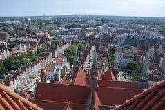 Widok nad miastem Gdański, Polska zdjęcie stock