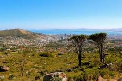 Widok nad miastem i od seaa Stół Góra popieramy kogoś Obrazy Royalty Free