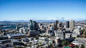 Widok nad miastem i od seaa Stół Góra popieramy kogoś Zdjęcie Stock