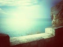 Widok nad morzem w mistycznym świetle Zdjęcia Stock