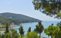 Widok nad nabrzeżną zatoką wyspa Fotografia Royalty Free