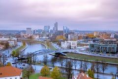 Widok nad nowożytną częścią Vilnius, Lithuania obrazy stock