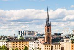 Widok nad Riddarholmen kościół w Sztokholm i wyspą, Szwecja f Zdjęcia Stock