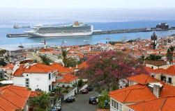 Widok nad schronieniem Funchal - madera obraz stock