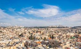 Widok nad starym miasteczkiem Jerozolima zdjęcie stock