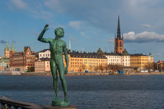 Widok nad starym miasteczkiem w Sztokholm, Szwecja Obrazy Royalty Free