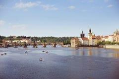 Widok nad Vltava rzeką obrazy stock