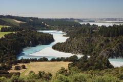Widok nad Waimakariri rzeką Zdjęcie Royalty Free