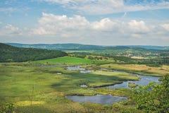 Widok nad wewnętrznymi jeziorami i polami, Jeziorny Balaton, Węgry Obraz Stock