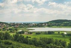 Widok nad wineyards i Tihany wioską, Jeziorny Balaton, Węgry Zdjęcia Stock