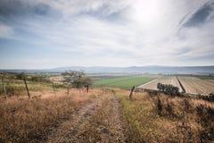 Widok nad wzgórze golan krajobrazowy Izrael zdjęcie royalty free