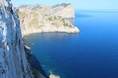 Widok nad zatoką od nakrętki Formentor lekkiego domu Obrazy Stock