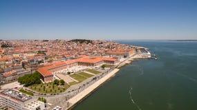 Widok nadbrzeże w Lisbon, Portugalia antena Fotografia Stock