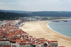 Widok Nazare plaża, Portugalia obraz royalty free