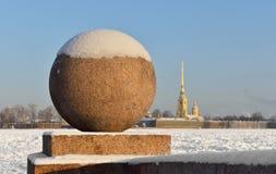 Widok Neva rzeka w zimie Obrazy Royalty Free