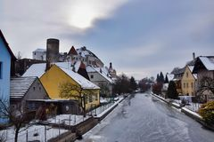 Widok Nezarka rzeka w zimie obrazy royalty free