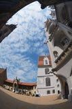 Widok niebieskie niebo z chmurami od wewnętrznego jarda Albrechtsburg kasztel w Meissen, Niemcy Fotografia Royalty Free