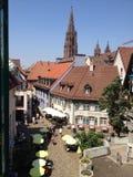 Widok Niemiecki mały miasta życie zdjęcia stock