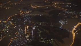 Widok nocy miasto od samolotowego okno moscow zbiory
